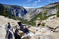 From the top of Nevada Fall... (Rachel Finney Photography) Tags: nevada fall mist trail california yosemite national park season october top landscape scenic waterfall water mountains trees sky clouds granite cliffs eastern sierras outdoors 2018