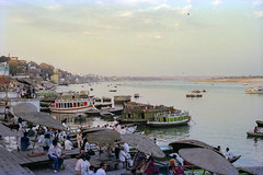 The Sacred Ganges (JamesWired) Tags: asia gangesriver india varanasi boats film ghats negative river water