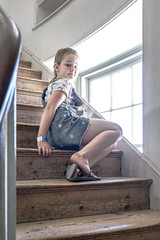 distraction (SCRIBE photography) Tags: uk england dorset portrait delicate stairs steps staircase window child waiting thoughtful pensive childhood memory naturallight