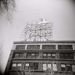 Portland Sign (jeffreylcohen) Tags: holga film hp5 blackandwhite bw 120 portland oregon or