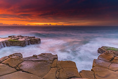 Clouds Glow for A Sunrise Seascape (Merrillie) Tags: daybreak sunrise northavoca nature water nsw centralcoast overcast rocky sea newsouthwales waves earlymorning morning rocks landscape ocean cloudy waterscape avocabeach coastal dawn outdoors seascape australia coast northavocabeach sky