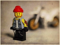 Biker Dude (N.the.Kudzu) Tags: tabletop toys lego minifigures bikerdude motorcycle canoneosm helios442 extensiontube ringlight mirrorless photoscape texture frame home