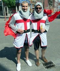 Hartlepools fans (billnbenj) Tags: barrow cumbria footballfans stgeorge sword shield hartlepoolsunited crossofstgeorge stgeorgesday