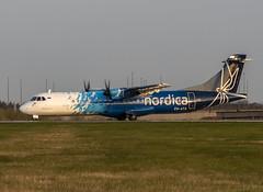 Nordica ES-ATA (Scottish Photography Productions | David Pollock) Tags: egpf gla glasgow abbotsinch international airport runway 05 nordica atr 72 esata sunset flybe pr press commercial