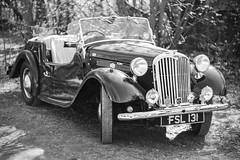 Vintage Car (Rich Presswood) Tags: monochrome blackandwhite bw mono fujixpro2 fuji silverefexpro2 adobelightroom 1940s ww2 wwii crich nationaltramwaymuseum car kamlan50mmf11