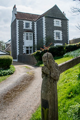 Rectory Cottage and Carved Post, Ovingdean, Sussex (Peter Cook UK) Tags: post mathematical wulfran's cottage church rectory ovingdean house tiles carved wooden sussex st