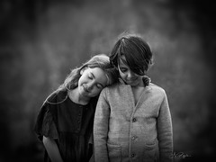 On your Side (agirygula) Tags: side by together soulfriends bnw sw child kids children life souls boy girl long hair beautiful portrait childportrait natural light canon
