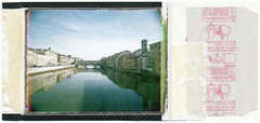 "Florence, from ""Ponte Santa Trinita"" (Giorgio Verdiani) Tags: pontevecchio bridge river arno fiume sky cielo firenze florence tuscany toscana downtown centrostorico polaroid fujifilm peelapart istantanea instant 6x9 mamiya universalpress 50mm mamiyasekor superwide supergrandangolare 100asa 100iso fp100c"