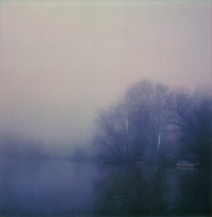 (mari-ann curtis) Tags: sx70 polaroid light shadows colour film impossibleproject polaroidoriginals polaroidweek nostalgia sky river fog foggy water boats trees riverbank winter reflections thames marianncurtis