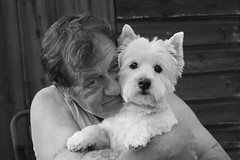 A man and his dog. No separation. No argument. (CWhatPhotos) Tags: cwhatphotos camera photographs photograph pics pictures pic picture image images foto fotos photography artistic that have which contain flickr panasonic lx10 lx15 compact sacriston westie highland terrier dog man love together animal bw black white mono west westy micha color olour canine small