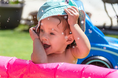 A Hat for Protection (Kevin MG) Tags: mh2 easter grandkids granddaughter girls young youth cute pretty little adolescent adorable outdoor water hat smile