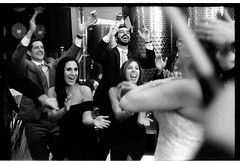 NideenRyanWedding_393 (Johnny Martyr) Tags: bw black white wedding weddings reception grain grainy film people crowd happy cheering laughing smiling expressions excited energy buzz excitement ilforddelta3200 35mmfilm ilford delta 3200 6400 6400iso pushprocessing