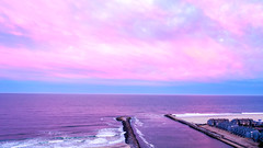 A Cotton Candy Sky over the Atlantic Ocean and Manasquan Beach on Easter. (apardavila) Tags: atlanticocean cottoncandysky djimavic2pro easter jerseyshore manasquan pointpleasantbeach aerial clouds drone dronephoto dronephotography quadcopter sky sunset