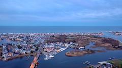 Manasquan and the Atlantic Ocean at dusk, captured by a DJI Mavic 2 Pro. (apardavila) Tags: atlanticocean djimavic2pro glimmerglassbridge jerseyshore manasquan manasquanbeach manasquanriver aerial clouds drone dronephoto dronephotography dusk duskphoto duskphotography quadcopter sky