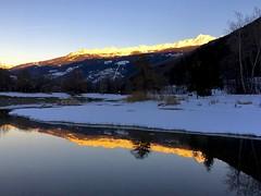 Sunset, Base de Loisirs (kcorrick) Tags: tarentaise sunset winter lake water reflections alps mountains snow mountain france