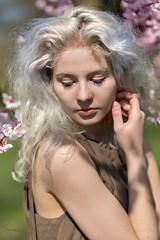 Shy? (piotr_szymanek) Tags: milena portrait outdoor woman young skinny face blonde transparent lingerie flower orchard 1k 20f 50f 5k 100f 10k 20k