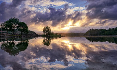 Røyksund, Norway (Vest der ute) Tags: g7x norway rogaland karmøy røyksund sea seascape landscape reflections mirror sunrise trees houses clouds sky birds fav25