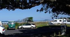 Beach traffic (D70) Tags: waihibeach bayofplenty newzealand 1997 toyota hiace van ford station wagon pacific ocean tree surf waves