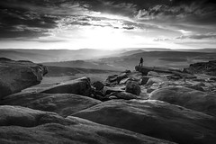 Stanage Edge in Derbyshire (Waving lights in the dark) Tags:
