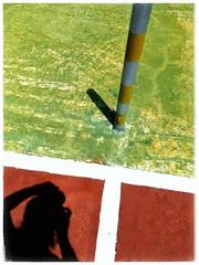 The Shadow Knows (plismo) Tags: mareadelportillo color pole tenniscourt hotel red shadow person selfie mareadeportillo granma cuba clubamigo clubamigohotel plismo clubamigomareadelportillo hotelmareadelportillo