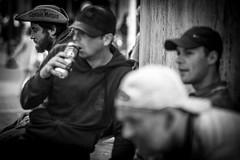 there is always a Captain Morgan (Gerrit-Jan Visser) Tags: amsterdam blackwhite bnw boys captain damsquare drinking loner man morgan outcast streethotography