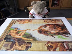 More nekkid peepul! (pefkosmad) Tags: jigsaw puzzle used secondhand complete hobby leisure pastime 1000pieces clementoni museumcollection michelangelo painting art mural sistinechapel ceiling thecreationofman detail michelangelobuonarroti tedricstudmuffin teddy ted bear animal toy cute cuddly fluffy plush soft stuffed adam god