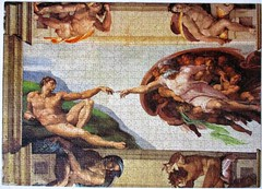 The Creation of man (pefkosmad) Tags: jigsaw puzzle used secondhand complete hobby leisure pastime 1000pieces clementoni museumcollection michelangelo painting art mural sistinechapel ceiling thecreationofman detail michelangelobuonarroti adam god