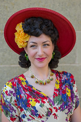 Lady with red hat (f22photographie) Tags: crich1940sweekend2019 people portrait faces vintageevent glamour prettygirls hats necklaces smile smiling leicaaposummicronsl75mmf20 1940sfashion