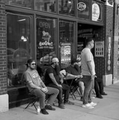 tgmf (pavel photography) Tags: tattooshop street men superikonta ilford ornithology ohioans 6x6film columbus vintage120camera shortnorth blackandwhitefilm mediumformatfilm