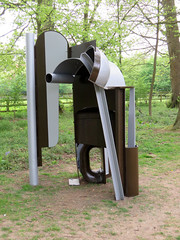 Belt by Anthony Caro - Cliveden, April 2019 (Dave_Johnson) Tags: anthonycaro caro sculpture sculptor art artist publicart exhibition anthonycaroatcliveden outsideart bluebells blue flower flowers plants wood woods woodland greendrive cliveden clivedenhouse nationaltrust buckinghamshire maidenhead belt