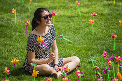2019 Pinwheel Day (haverford_college) Tags: 2010s 2000s outside outdoors exterior all rights allrights patrick montero 2019 april spring foundes foliage green greenery leaves tree trees grass tradition pinwheel pinwheels annual bush color colorful student activity horizontal asian minority female woman glasses sunglasses sit sitting pose posing