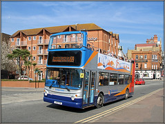 Stagecoach Silver............. (Jason 87030) Tags: alx400 trident dennis stagecoach silver top topless opentop tourism tour view kent ramsgate uk england holiday vacation wheels bus red blue orange views travelodge harbout thanet eastkent sebg 17529 celebration years anniversary 25