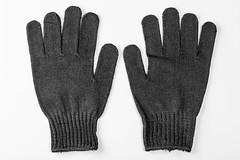 Pair of black work gloves on white background (wuestenigel) Tags: clothing construction protective glove concept pair black cloth work background handyman white