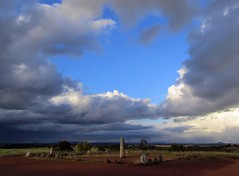 stone circle and circle in the clouds (lualba) Tags: xerezstonecircle steinkreis monsaraz alentejo portugal clouds wolken himmel sky