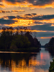 Sunset on the Oder-Spree canal (Steppenwolf33) Tags: sunset canal oderspree steppenwolf33 water clouds forest reflections sky dawn