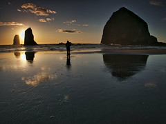 Watching the Sun Sink (Ray Mines Photography) Tags: sand beach pacific ocean sea evening sunset person solo night travel outdoors seascape nature colorful coastline oregon coast
