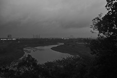 bend in the river (avawoodworth) Tags: tokyo japan rain rainy morning bw blackandwhite monochrome mono outside