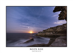 Sydney coast by night with moon rise (sugarbellaleah) Tags: sydney coast moonlight astrophotography night ocean stars starlight cliffs headland escarpment sandstone waves astronomy milkyway universe water moonrise moon ripple spectacular awesome planets science nature solarsystem wonder evening special amazing longexposure