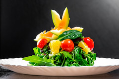 Vegetarian salad with herbs and avocado on white plate (wuestenigel) Tags: vegetable herb eating avocado basil vegan tomato spinach diet leaf arugula mix food background healthy red salad leaves plant rucola mixed lettuce natural nutrition orange closeup health green fresh chard vegetarian organic