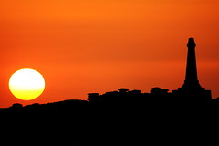 Volcanic eruption in Iceland caused an unusual sunset over Carn Brea (Cornish Reflections) Tags: cornwall sunset carnbrea monument uk england cornish sun