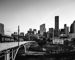 609 Main at Texas Skyline-Main Street Bridge No 4 (Mabry Campbell) Tags: 609mainattexas harriscounty hines houston pickardchilton texas usa architecture blackandwhite building downtown image photo photograph train f71 mabrycampbell march 2019 march272019 20190327609campbellh6a6570pano 24mm ⅙sec 100 tse24mmf35lii