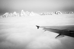 The Tetons above the clouds. December, 2018. (Guillermo Esteves) Tags: apple aerial iphonexs mobile nationalparks grandtetonnationalpark grandteton blackandwhite unitedstates wyoming jackson