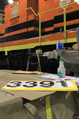 End Numbers (GLC 392) Tags: number numbers end 3391 emd sd402 mqt marquette rail railroad railway train manistee mi michigan roundhouse round house fresh paint new repaint contractor gw genesee wyoming inc decal stencil sticker