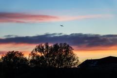 geniesse den Flug (Giuseppe Caponio) Tags: abendrot bäume flugzeug frühling landschaft sonne sonnenuntergang wind wolken blauestunde oberuzwil kantonstgallen schweiz