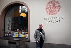 Wayne, outside University book shop (littlestschnauzer) Tags: prague wayne shop university bookshop 2019 visit city centre tourist