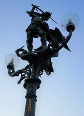 Saint Michael (kendradrischler) Tags: ghent statue lamp bridge saintmichael