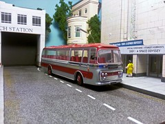Coach Tour to the Cinema. (ManOfYorkshire) Tags: plaxton panorama coach bus trip cinema 2001 special diecast 196 ltb305c lancashireunited 176 scale oogauge town diorama tour leyland leopard