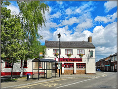 Give us an 'A'....... (Jason 87030) Tags: pub peacoack letters words busstop bin sign building architecture longbuckby rhymetime village northants northamptonshire april 2019 trees green scene uk market england sunny clouds light nice beer publichouse inn boozer