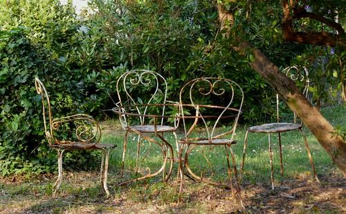Salon de jardin, Jane de Boy, presqu'île du Cap Ferret, Bassin d'Arcachon, Gironde, Aquitaine, France.