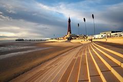 Blackpool, Evening (nickcoates74) Tags: blackpool blackpooltower beach coast seaside fylde a6300 ilce6300 1650mm sel1650 pz1650mmf3556 affinityphoto 3leggedthing sea seawall seadefences goldenhour goldenmile